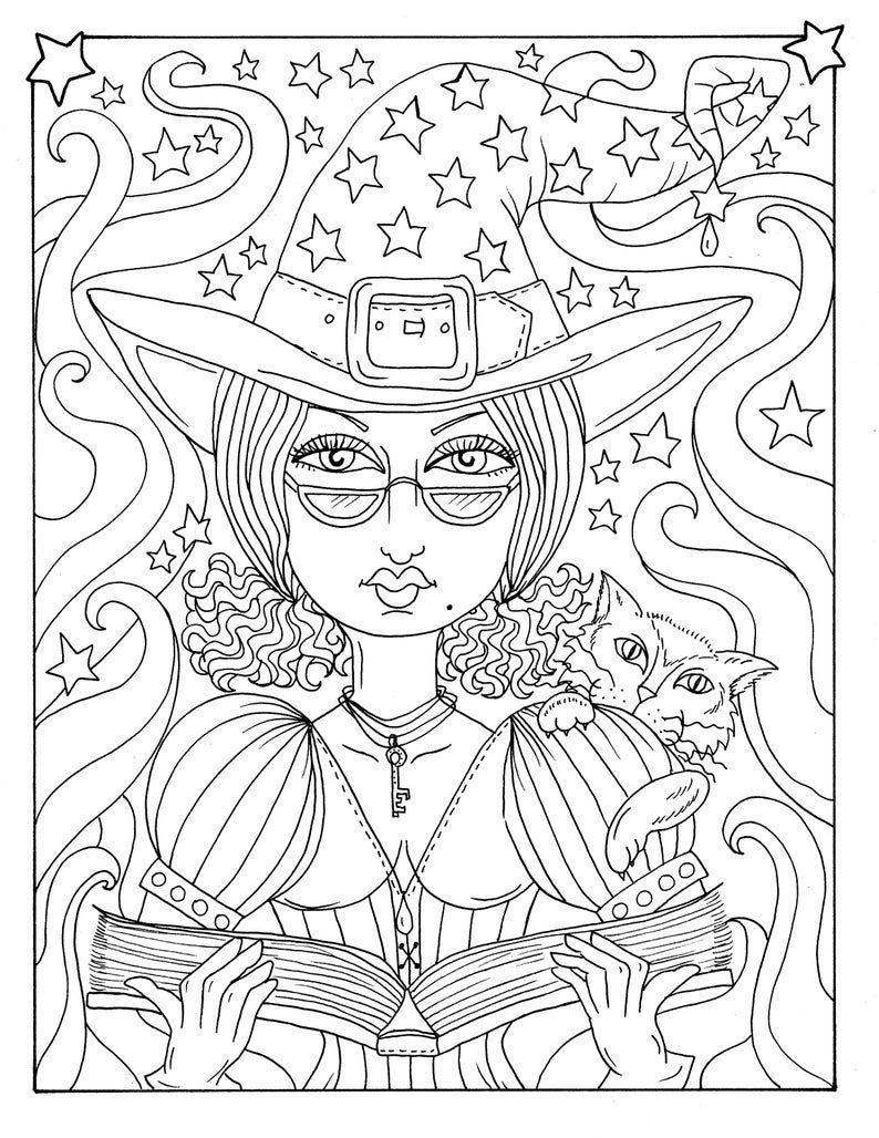 5 Pages Magical Witches Halloween Magic Coloring Pages Digital Etsy Halloween Coloring Pages Coloring Pages Halloween Coloring Book