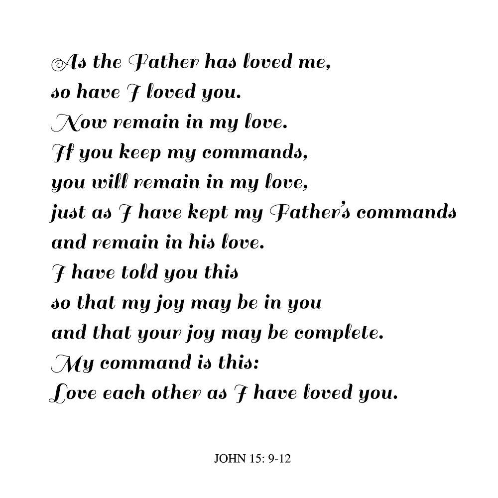 Biblical Ceremony Reading John 15 9 12