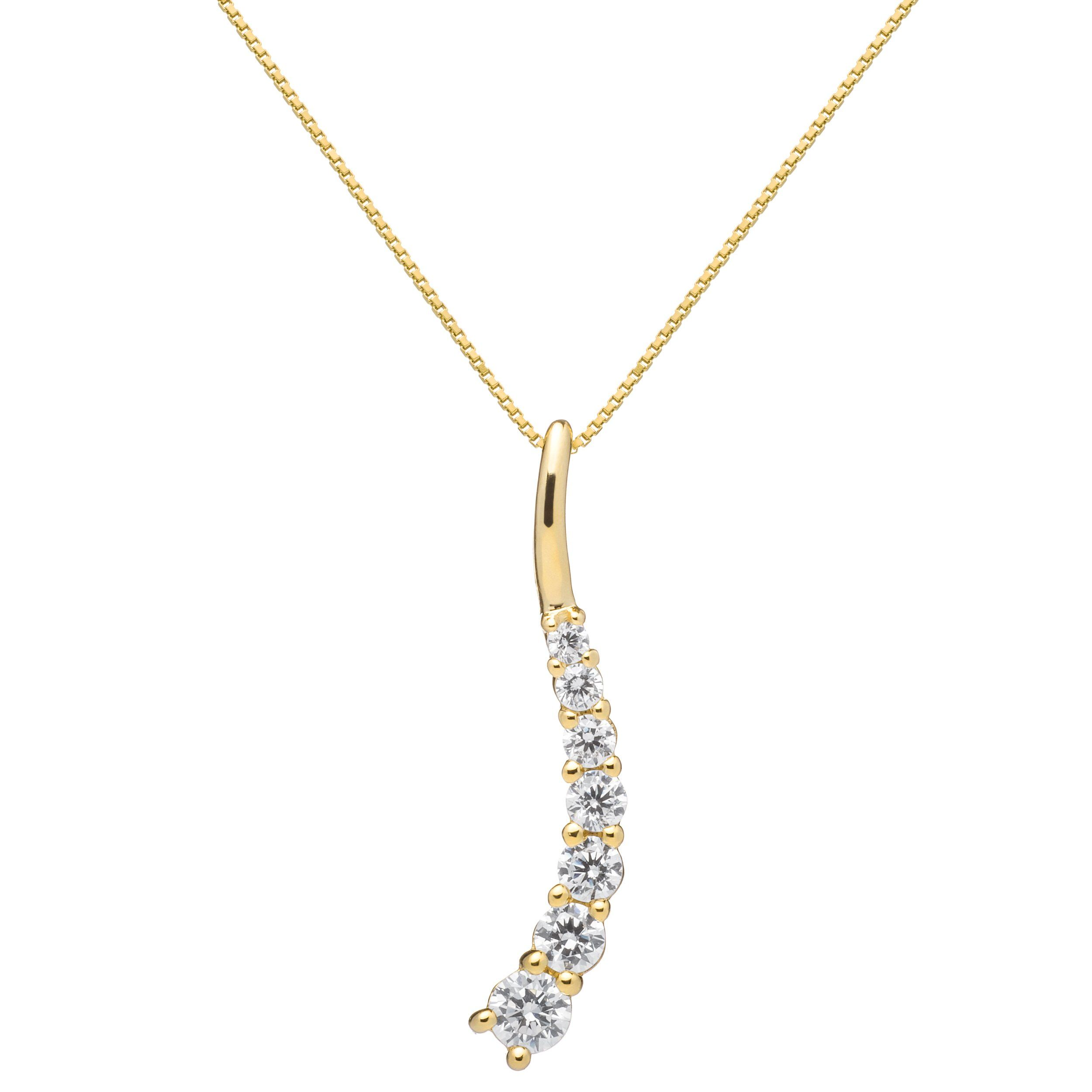K Solid Yellow Gold Round Cut Cubic Zirconia Stone Pendant