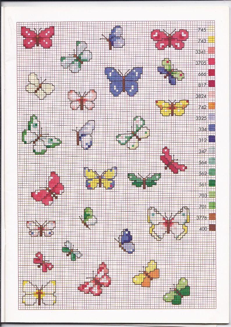 tante farfalle colorate schemi punto croce piccoli