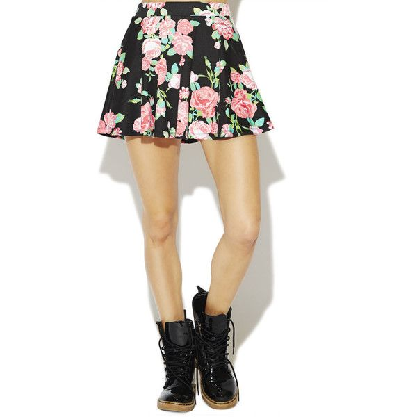Floral Ponte Skater Skirt ($15) ❤ liked on Polyvore featuring skirts, bottoms, floral print skirt, wet seal, long floral skirts, beige skirt and floral skirt