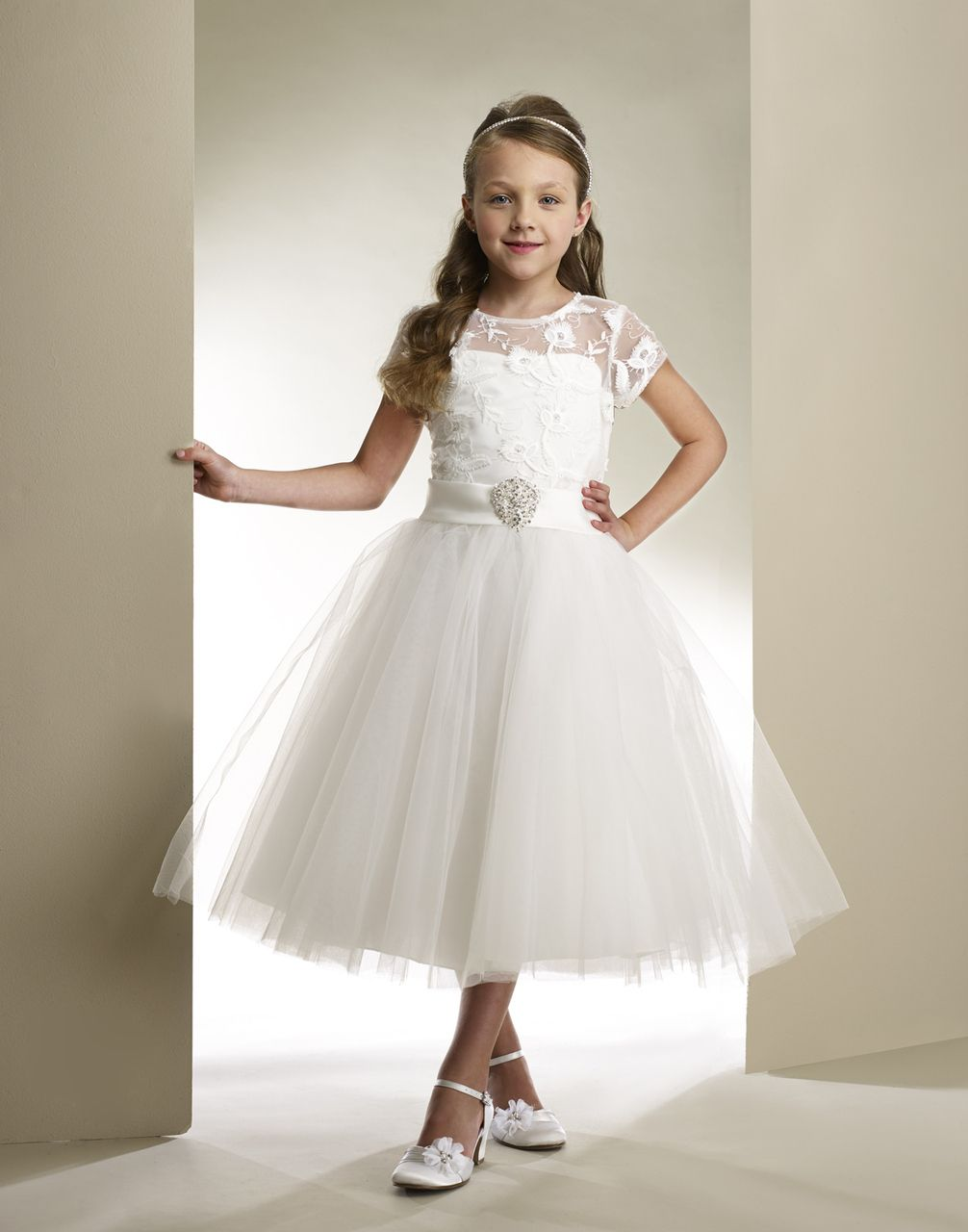 Macis Tea Length Communion Dress T1861 | First Communion Dress ...