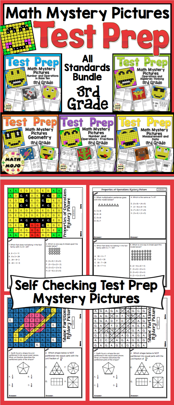 3rd Grade Math Test Prep Mystery Pictures - All Standards Mega ...