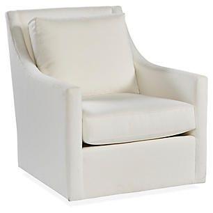 Fairfax Swivel Club Chair White Crypton
