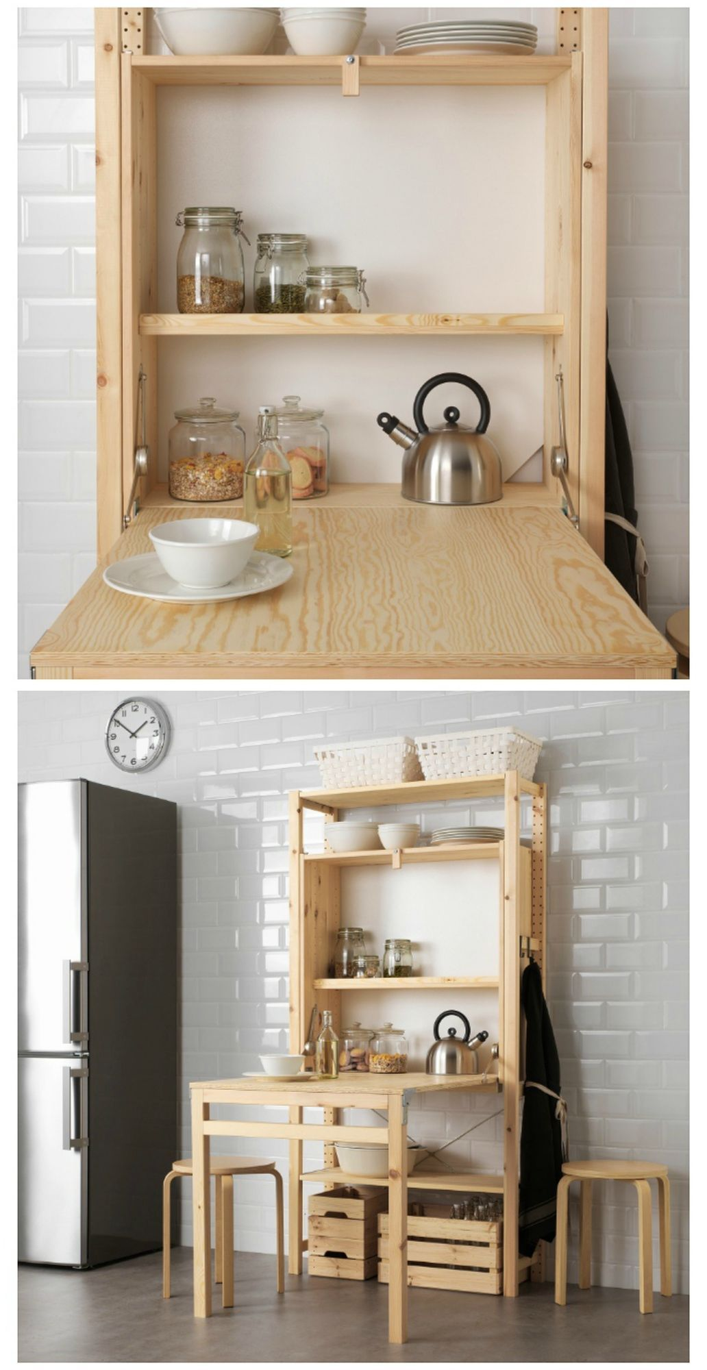 Ikea Launches Space Saving Shelving Unit With Foldable Table Ikea Small Spaces Space Saving Shelves Space Saving Kitchen Table