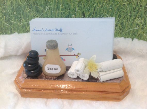Spa polymer clay business card holdercard by NaomisSweetStuff, $15.00