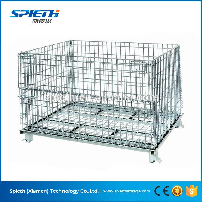 collapsible wire mesh container/rolling metal storage cage for ...