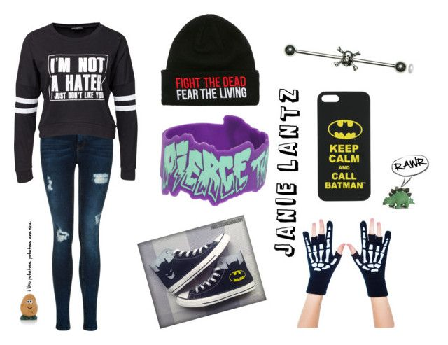 """Janie!"" by onlym14 ❤ liked on Polyvore featuring Converse, Too Fast, Sally&Circle, Joie, batman, rawr, piercetheveil and potato"