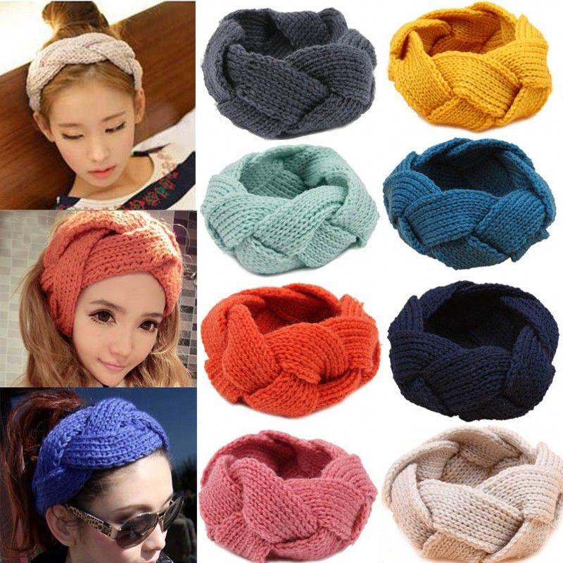 Fashion Women Crochet Twist Knitted Head wrap Headband Winter Ear ...