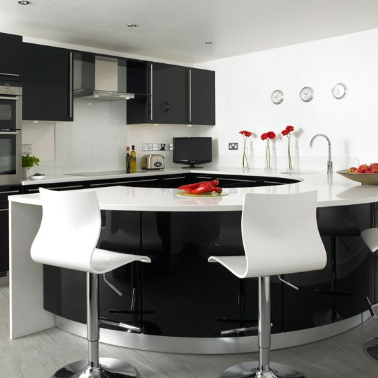 Kitchen With Curved Worktop | Black And White Kitchens   10 Of The Best | Kitchen  Design Ideas | PHOTO GALLERY | Beautiful Kitchens