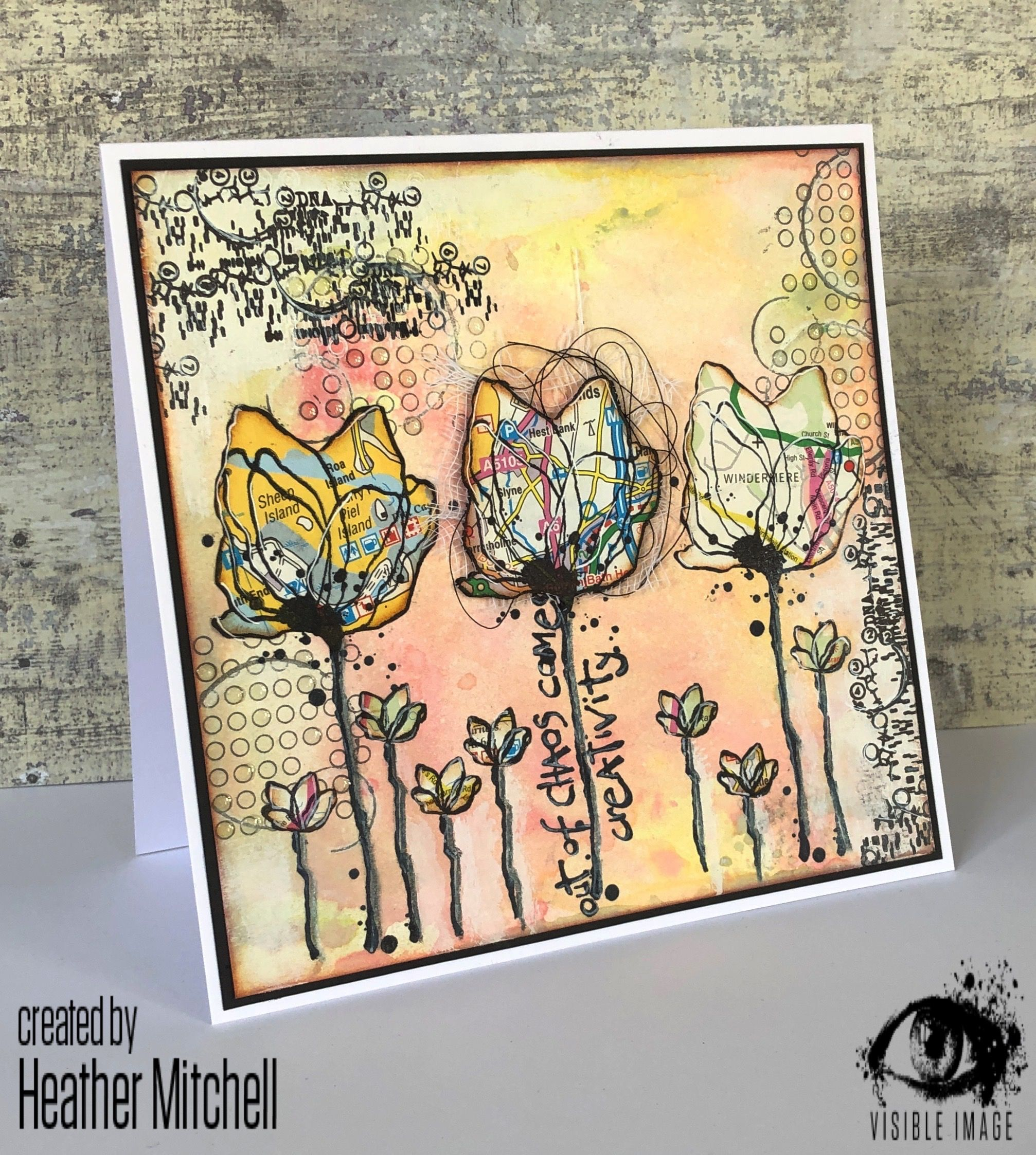 creative chaos visible image  image stamp flower cards