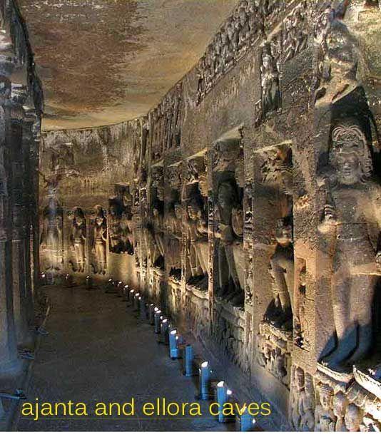 The Ajanta Caves in Maharashtra, India, built between ...