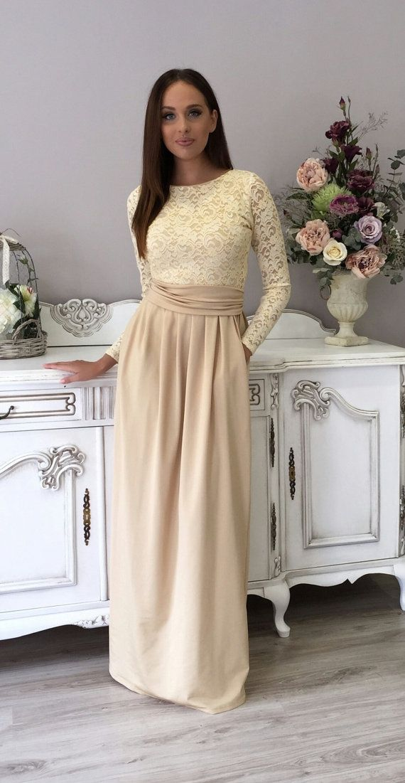 Yellowish Top Lace/ Champagne Evening Party Maxi Dress Long Sleeves ...