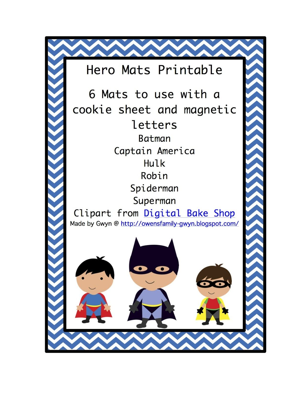 Super Hero Mats To Use With Cookie Sheet And Magnetic
