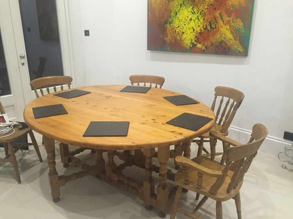 Oval pine dining table and 6 oak chairs homes Pinterest Pine