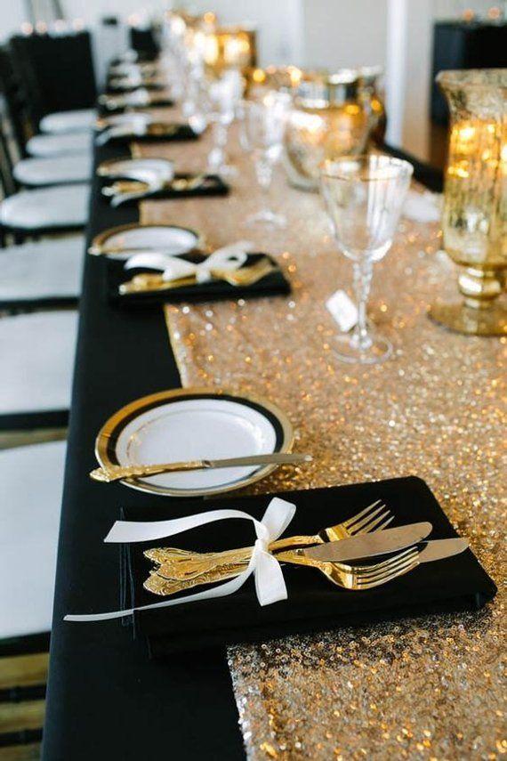 Gold Table Runner Lentejuelas, Champagne Gold Gold Table Runner