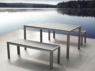 Aluminium Tuinmeubel Set Grijs Tuintafel 180cm 2 Banken