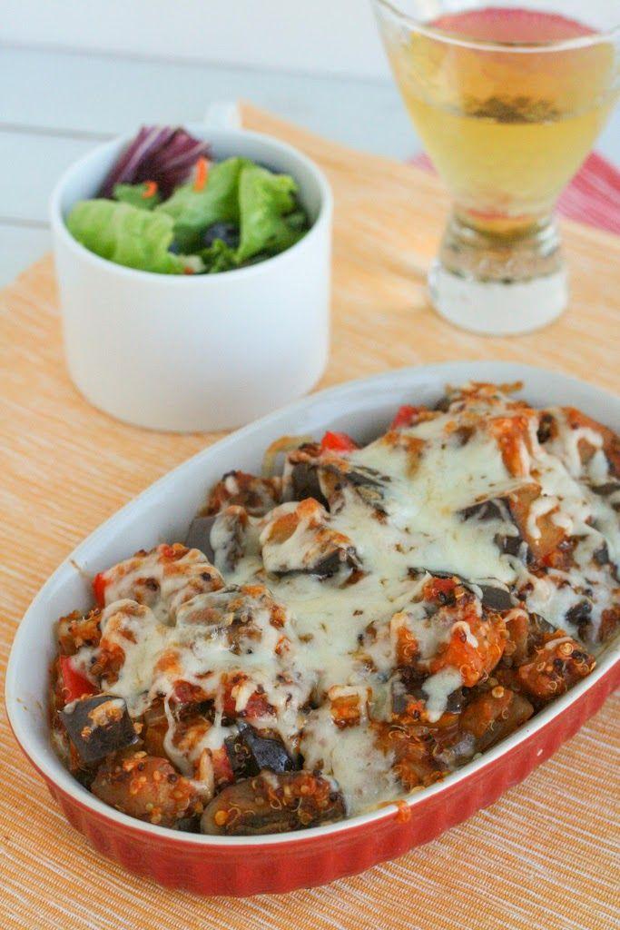 Eggplant Parmesan Quinoa Casserole #healthy #vegetarian #recipe