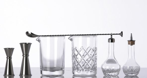 Attractive Japanese Jiggers, Classic Mixing Glass, Yarai Mixing Glass, Mixing Spoon U0026  Bitters Bottles