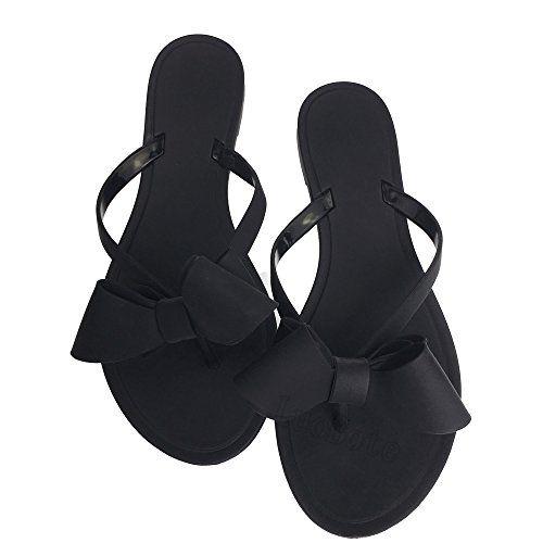 d007600b9 Tengyu Women Bow Flip-Flops Matte Beach Shoes Rain Thong Flat Jelly Sandals  Black