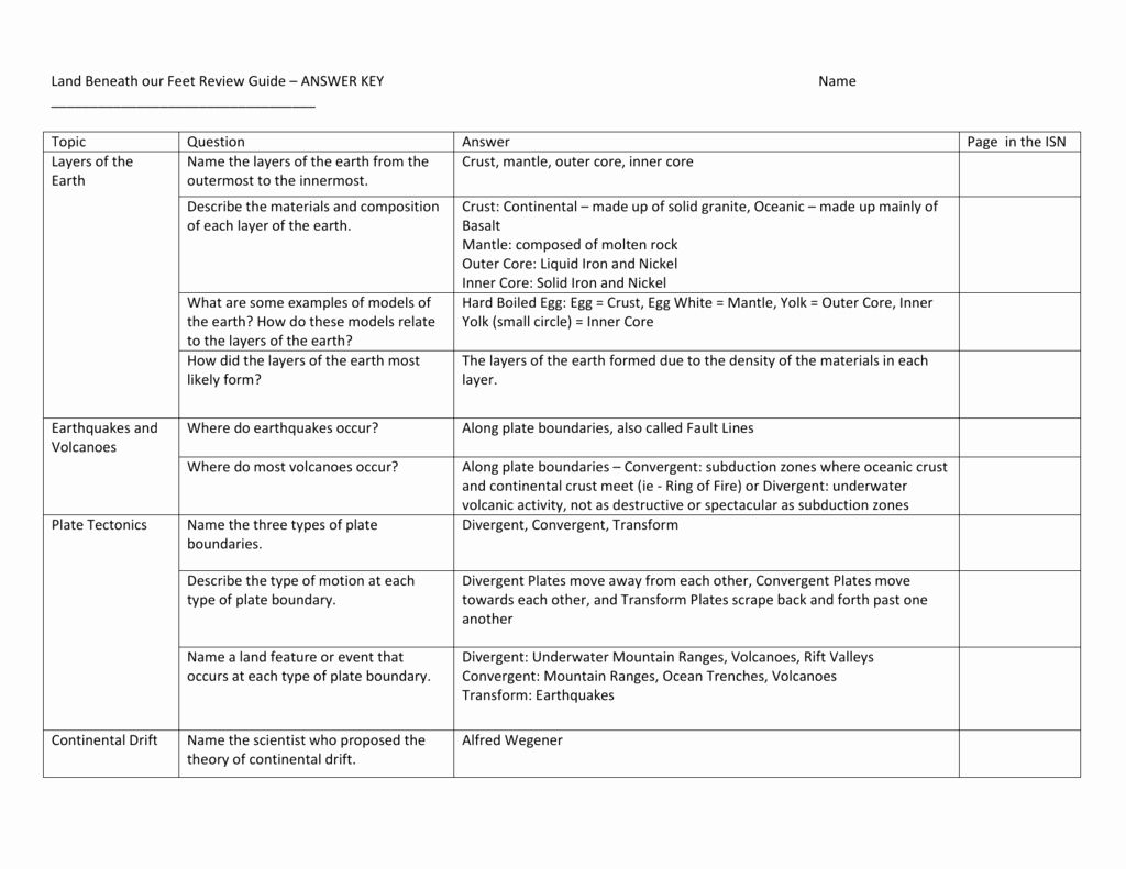 Plate Tectonics Worksheet Answers Inspirational Answer Key