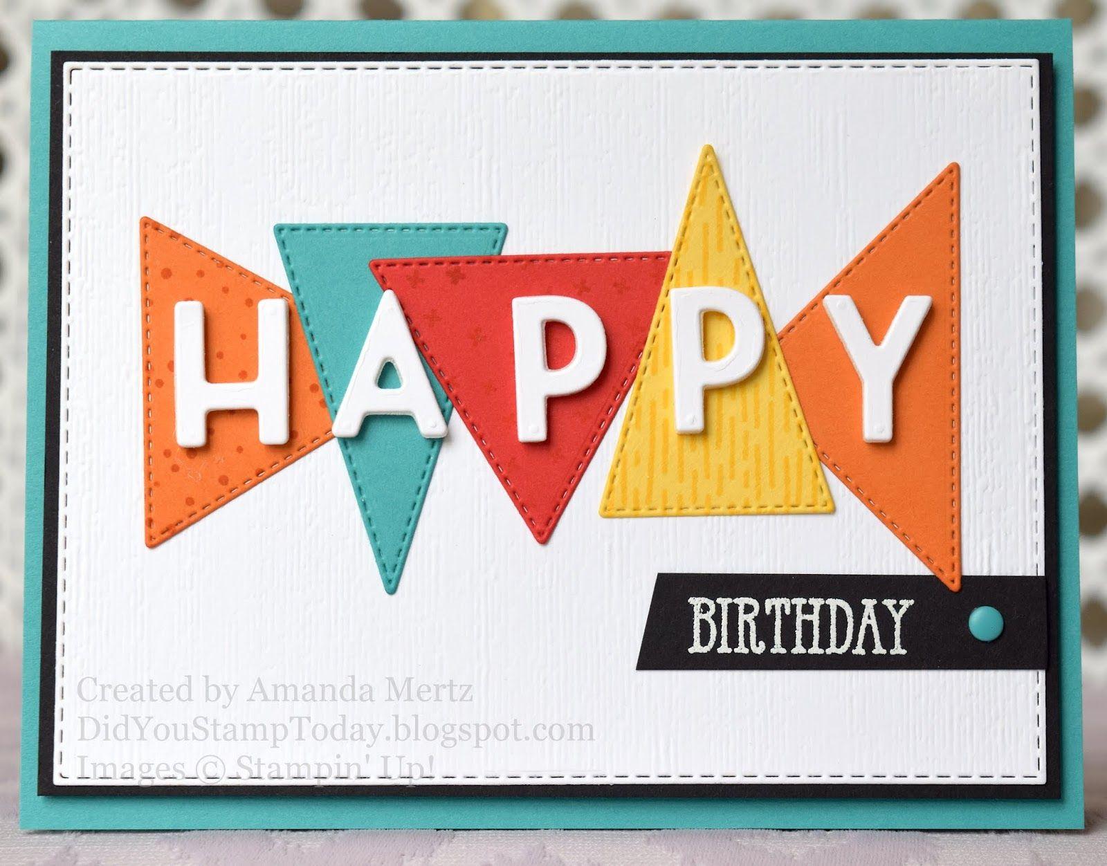Bright Boy Birthday Stampin Up The Right Triangle Birthday Cards For Boys Stampin Up Birthday Cards Kids Birthday Cards