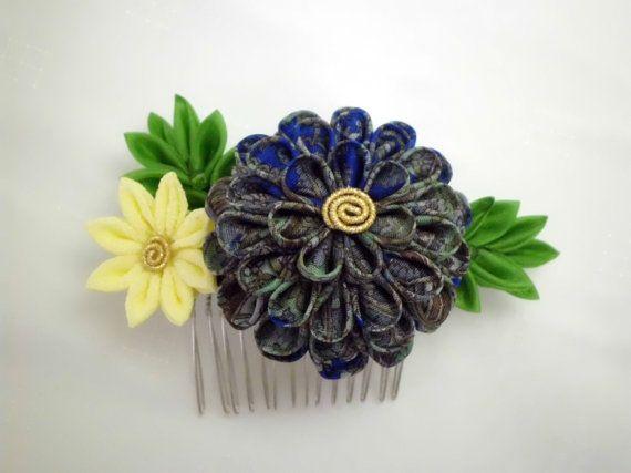 Blue and yellow flowers tsumami kanzashi hair comb by JagataraArt