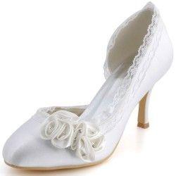 Ivory Womens Bridal Closed Round Toe Stiletto High Heel Pumps Satin Flower Wedding Shoes