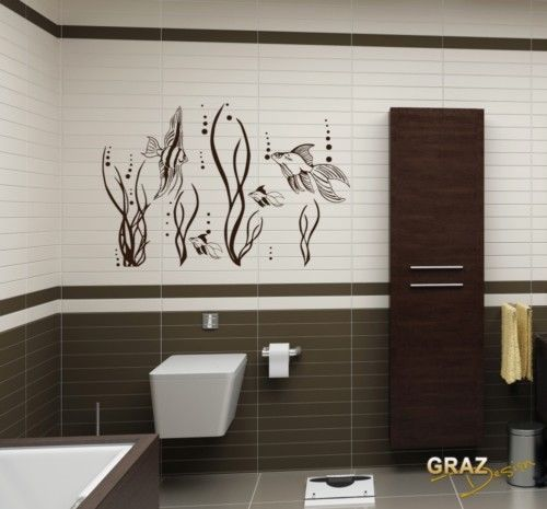 Details zu Wandtattoo Badezimmer Aufkleber Fische Meer See Ozean - Wandtattoos Fürs Badezimmer