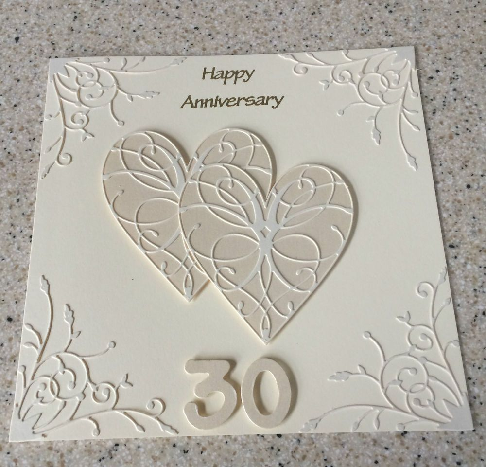 Handmade pearl wedding anniversary card th