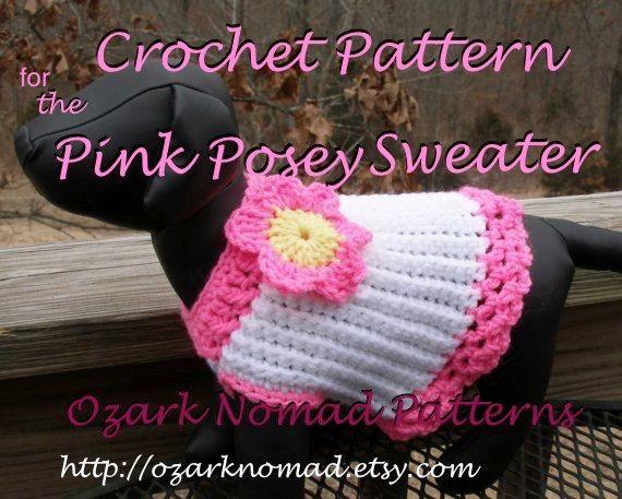 Immediate Download Pdf Crochet Pattern Pink Posey Dog Sweater