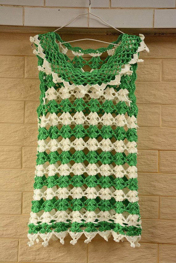 Green and White Strip Crochet Vest Tank Top | Tapas, Verde y Ganchillo