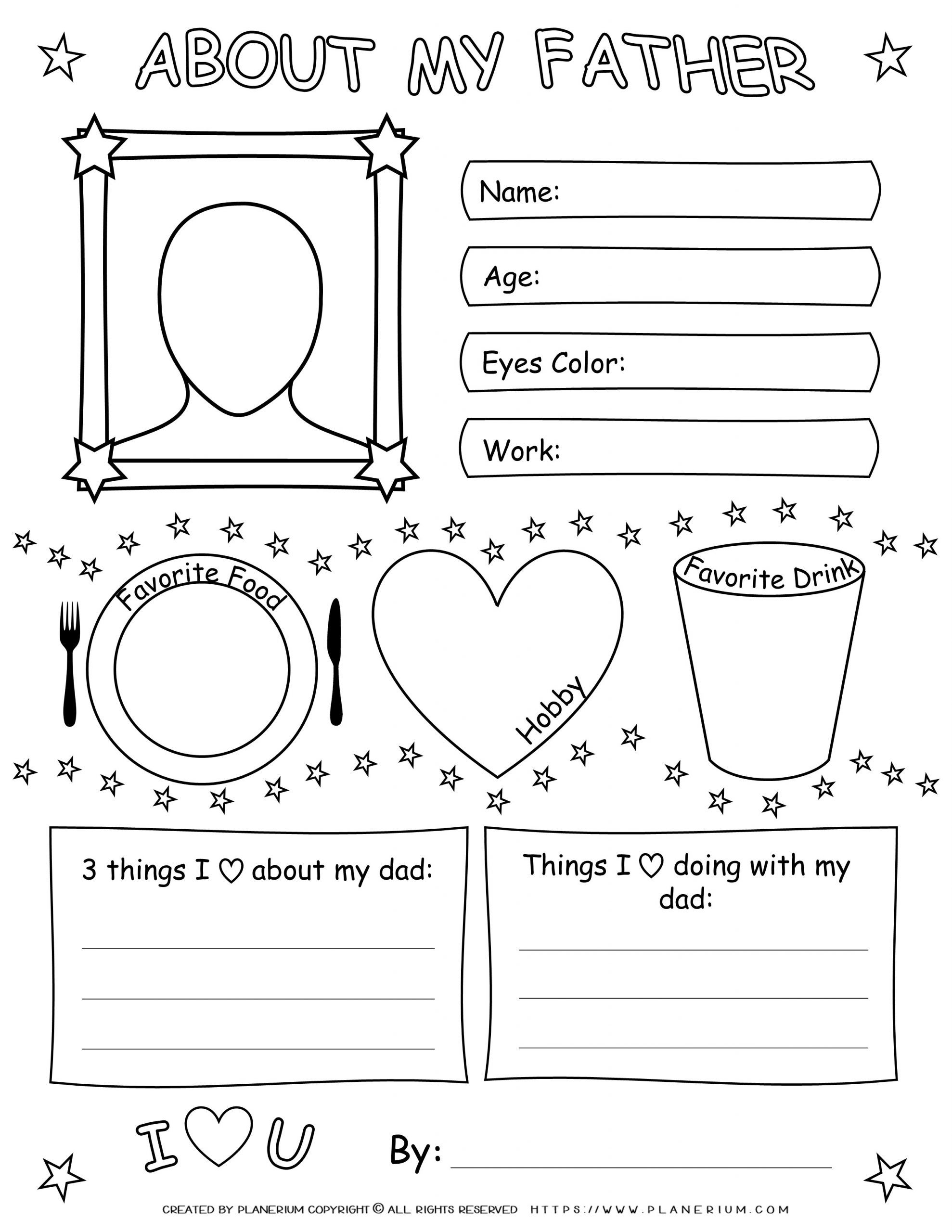 Father S Day Worksheet About My Father Planerium In 2021 Worksheets Free Father S Day Activities Worksheets [ 2560 x 1978 Pixel ]
