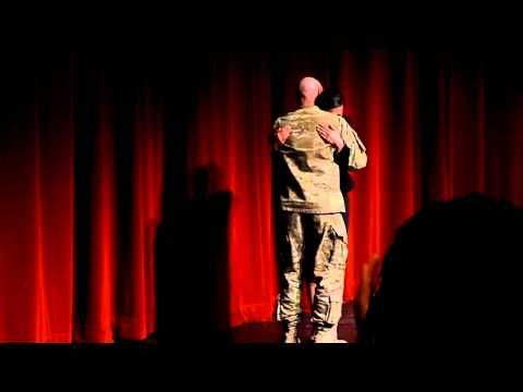 """High School Senior Surprised by Her U.S. Soldier Father on Stage in Front of Packed Auditorium    """"Our daughter is the captain of her speech team and, after having just completed her 10-minute speech, we had her daddy come on stage to surprise her! She is daddy's only little girl, always will be, and boy did it show."""""""