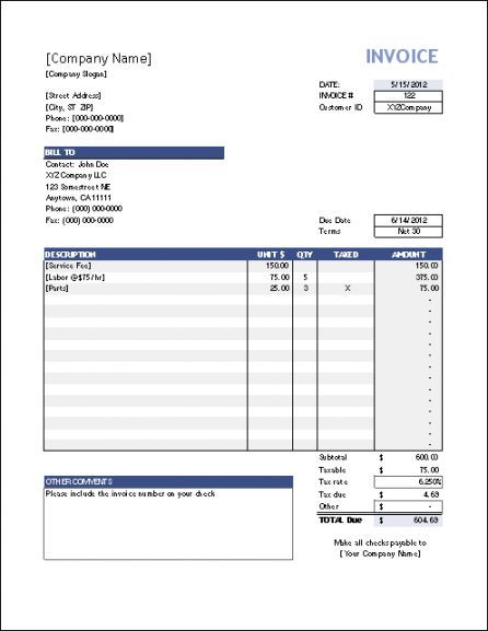 Download Invoice Template Excel invoice Pinterest Invoice - rent invoice template