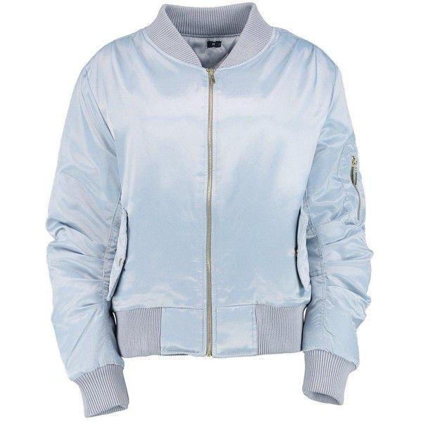 Tessa Satin MA1 Bomber ($43) ❤ liked on Polyvore featuring outerwear, coats, blue coat, bomber coat, satin coat and wrap coat