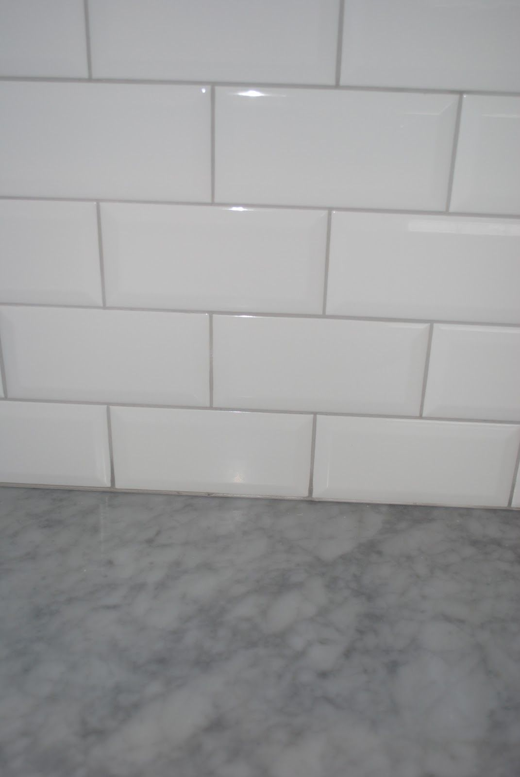 White Tile Bathroom Gray Grout white subway tile with grey grout, grey countertop. | home ideas