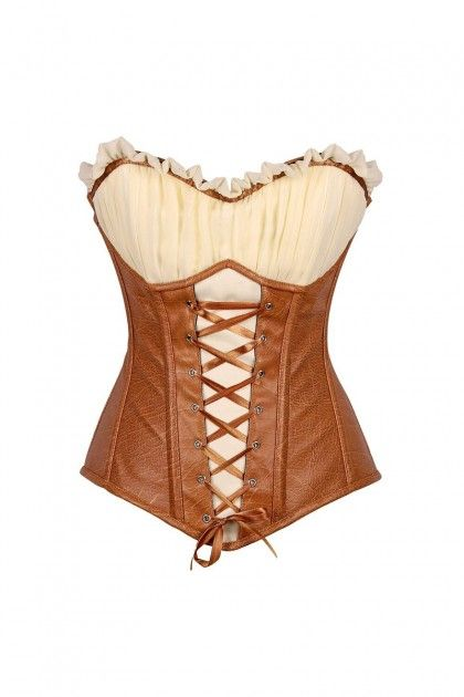 d21595f64b Caramel Beige Faux Leather Steel Boned Ren Faire Top Drawer Corset ...