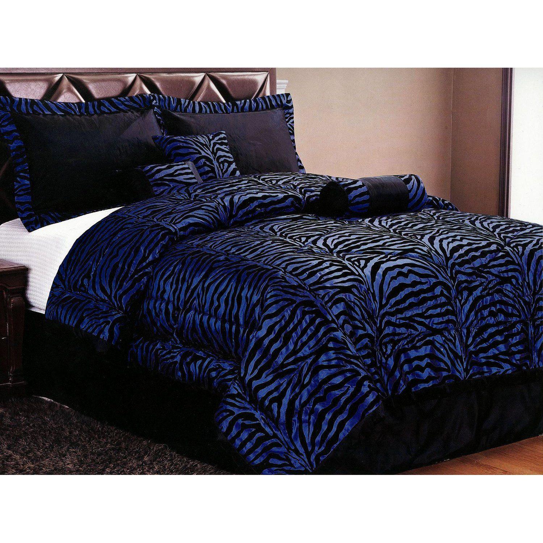 Blue Zebra Bedding Set I Want This Now Zebra Bedding