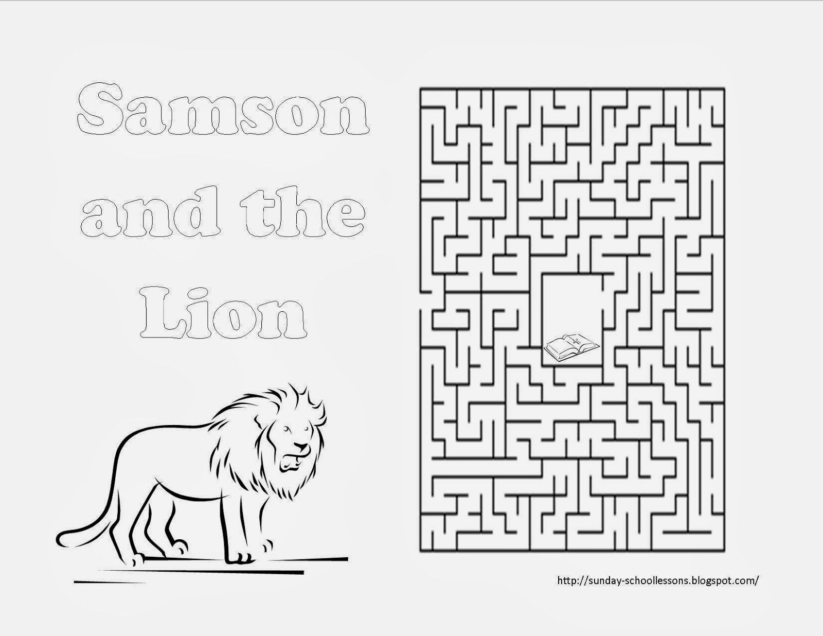 free samson and the lion maze sunday school activity easter holiday club pinterest. Black Bedroom Furniture Sets. Home Design Ideas