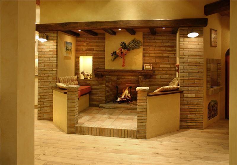Camini rustici, lavorazione artigianale con pietre, mattoni e legno ...