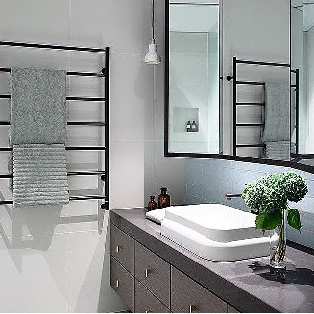Industrial Interiordesign Bathroom: Grey Caesarstone Topped Timber Drawer Vanity, White Square