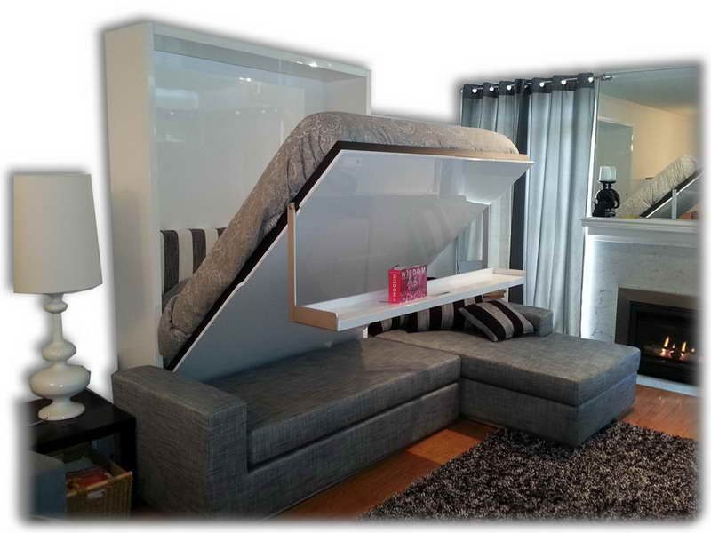 Gray Wall Mounted Folding Bed Loft Apartments Murphy