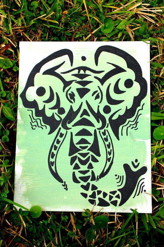 Tribal Elephant, Abstract Elephant Painting, Wall Art | Stencils ...