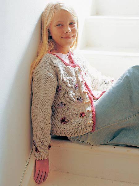 Knit A Girls Bobble Cardigan Free Knitting Patterns For Children