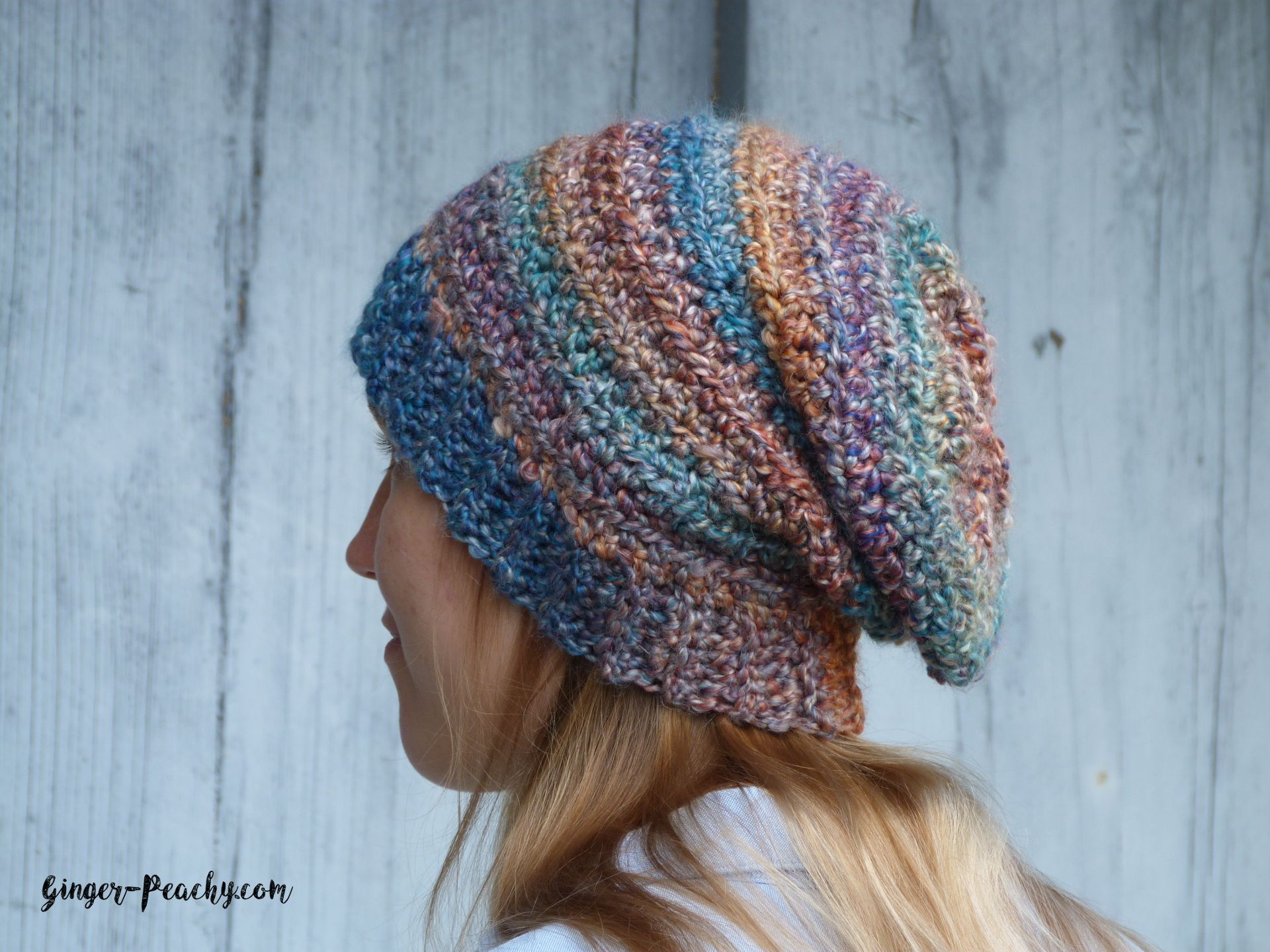 A free crochet pattern for the Stockholm Slouch Beanie using a Lion ...