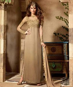 Buy Beige Georgette Straight Cut Suit 71614 online at lowest price from huge collection of salwar kameez at Indianclothstore.com.