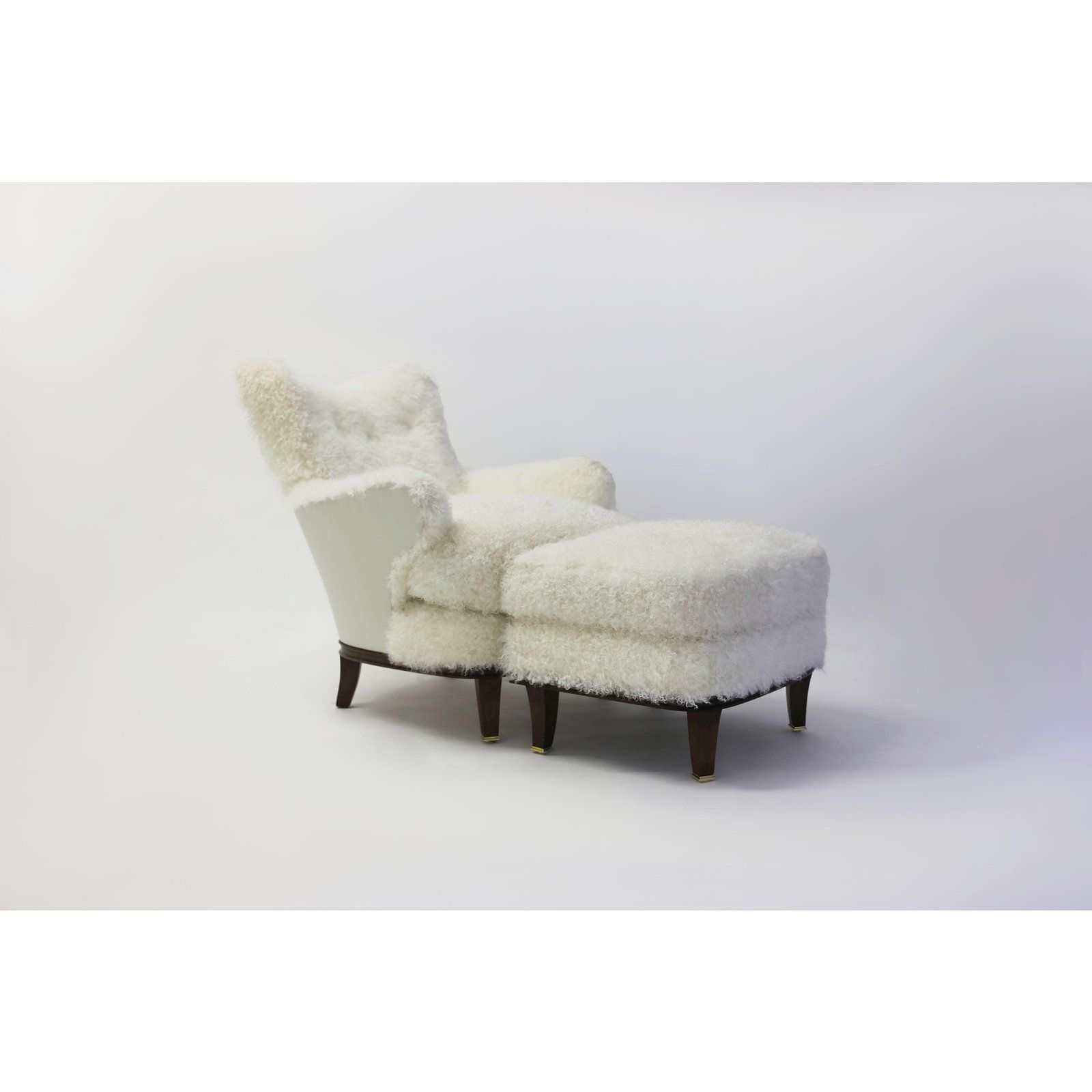 animal skin chair covers comfy bedroom shearling covered shaped back with wood base and legs metal cap feet for sale image 7 of 11