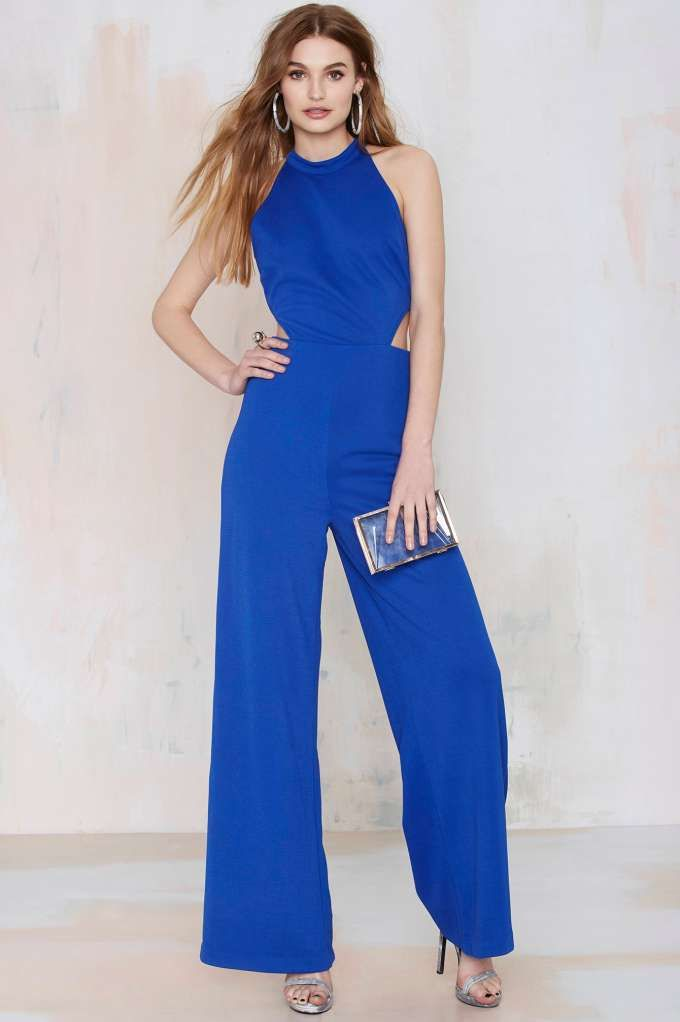 Nasty Gal Jeslina Cutout Jumpsuit - Blue - Rompers   Jumpsuits ...