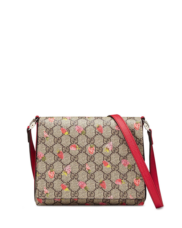 c7a55f05cbfb Gucci Girls' Strawberry-Print GG Supreme Canvas Messenger Bag,  Beige/Multicolor, Beige Multi